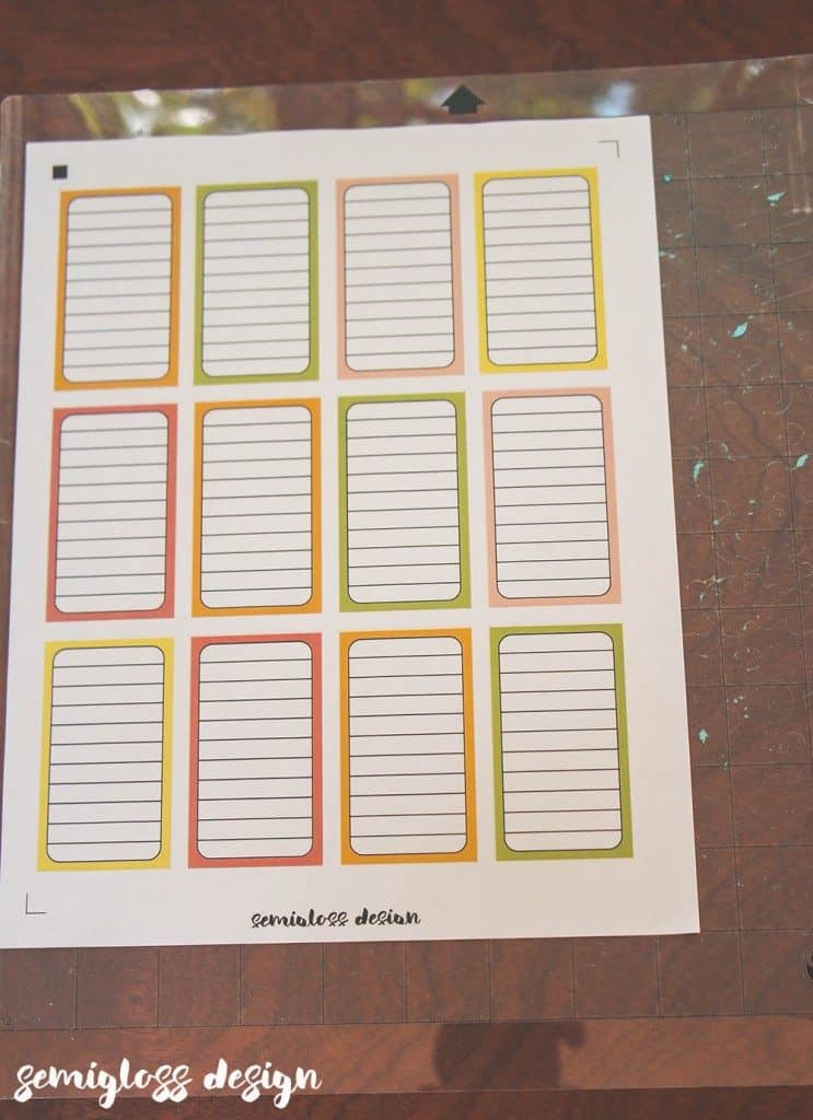 printed planner stickers on silhouette mat