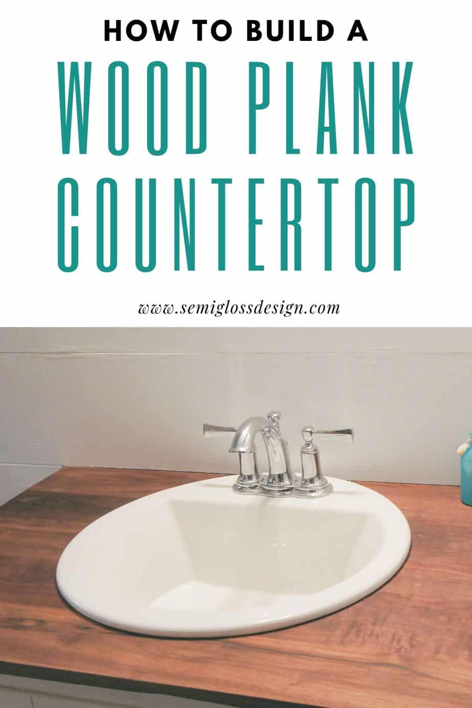 DIY wood plank countertop