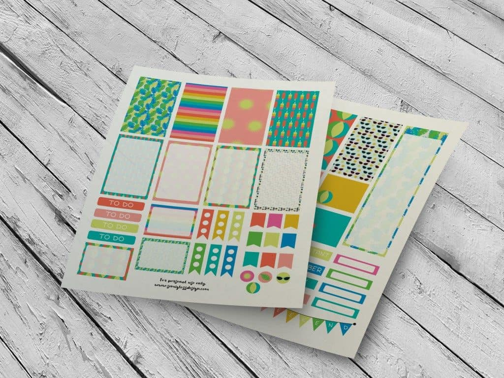 picture regarding Free Planner Sticker Printables referred to as Summertime Ornamental Totally free Planner Stickers - Semigloss Style