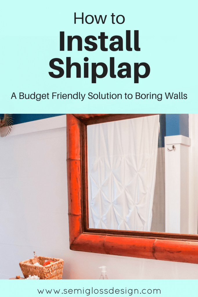 budget friendly shiplap | install shiplap | farmhouse walls | shiplap bathroom | DIY shiplap | cheap and easy shiplap | easy shiplap | plank walls