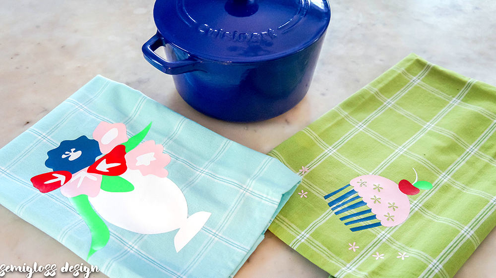 decorative tea towels | heat transfer vinyl project | silhouette project | die cut machine project | DIY tea towels | dish towels | cute tea towels | free cut files | tea towel vinyl | HTV