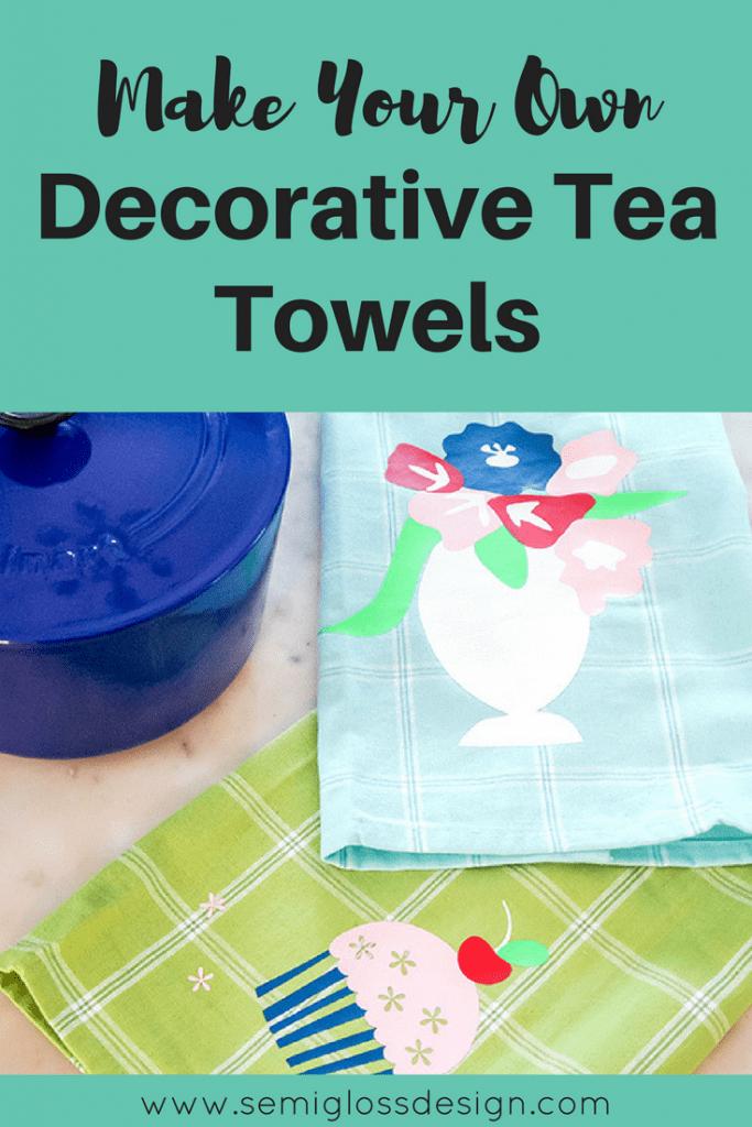 decorative tea towels   heat transfer vinyl project   silhouette project   die cut machine project   DIY tea towels   dish towels   cute tea towels   free cut files   tea towel vinyl   HTV