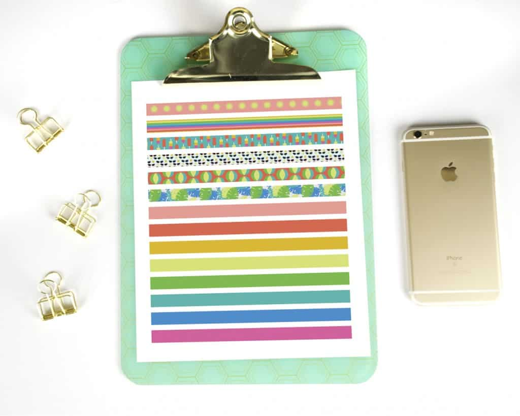 printable washi tape on clipboard