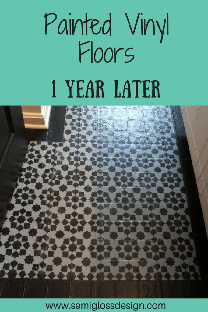 Painted vinyl floor 1 year later semigloss design for Paint vinyl floor bathroom
