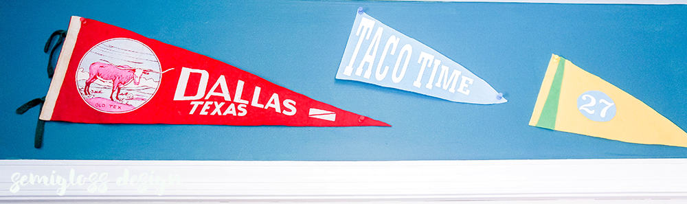custom pennants hung with vintage pennants
