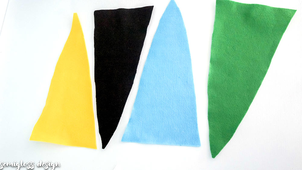 cut your felt into pennant shapes