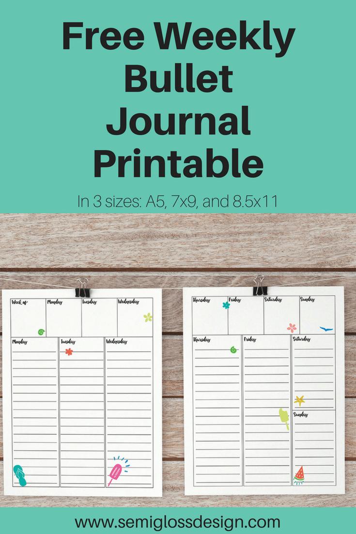 Free weekly bullet journal printable semigloss design for Online planner