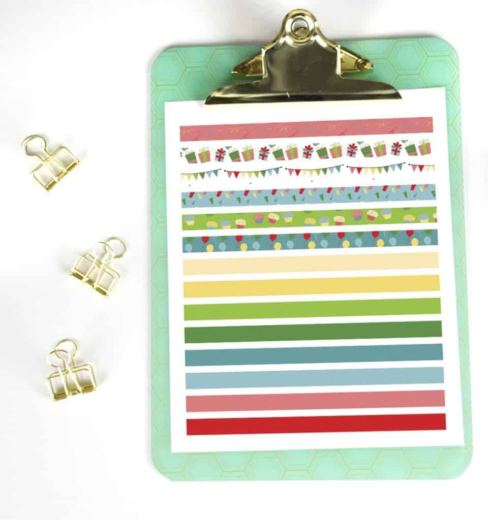 image relating to Free Happy Planner Printables named No cost Printable Washi Tape for Birthdays and Celebrations