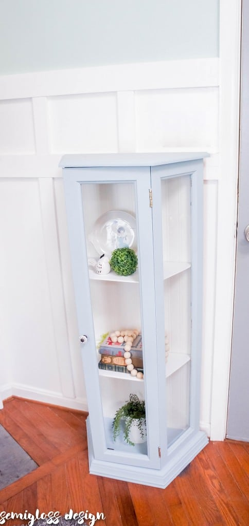 Light blue chalk painted curio cabinet