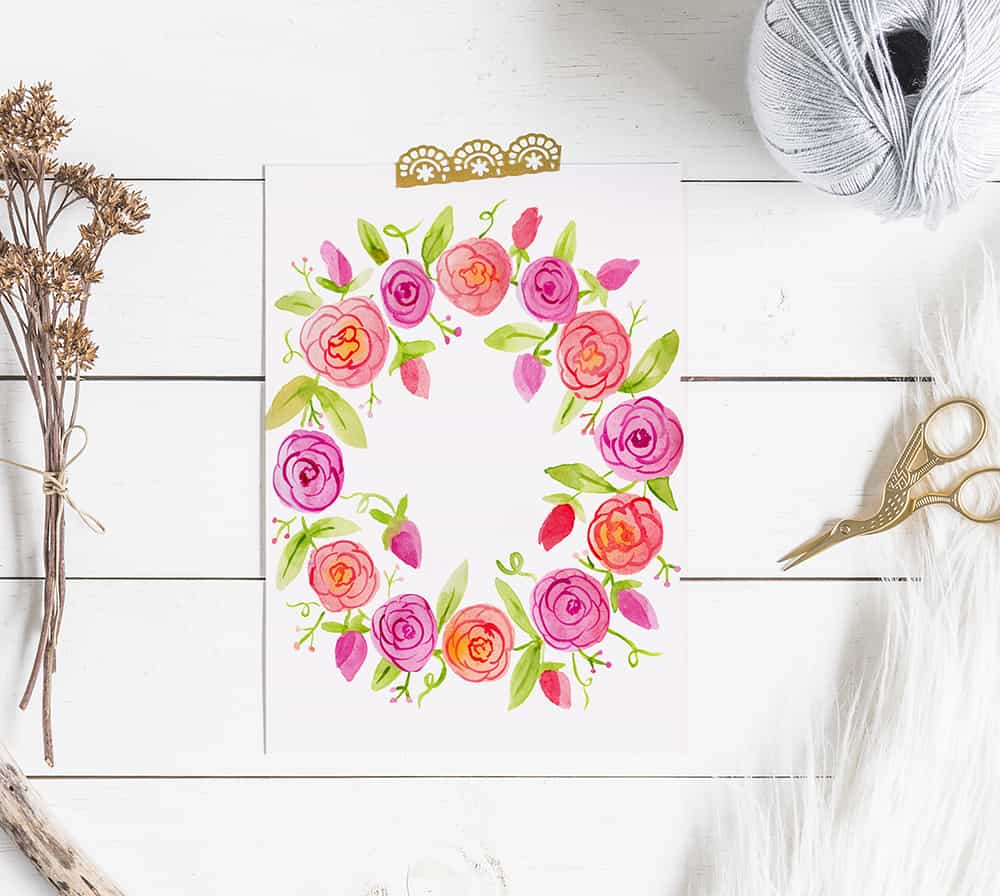 photo about Watercolor Printable known as Totally free Printable Watercolor Floral Wreath Artwork - Semigloss Style