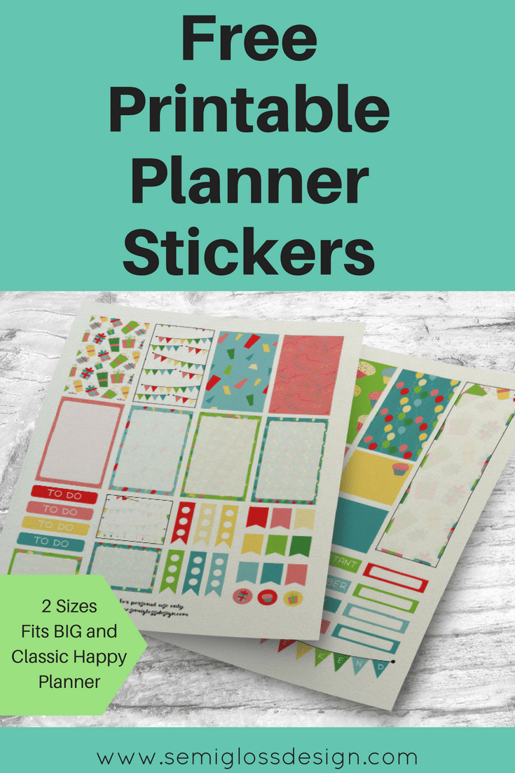 Celebration planner stickers printable