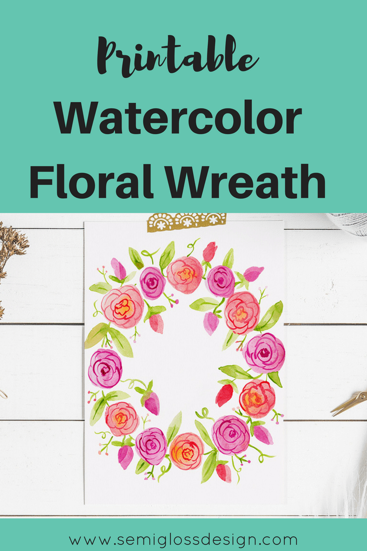 printable wall art | printable watercolor floral wreath | printable watercolor | fall printable | Autumn printable | free printable | floral printable | farmhouse printable
