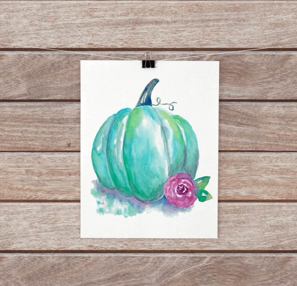 Blue pumpkin watercolor
