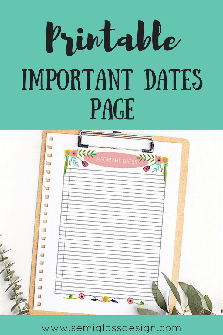 bullet journal printable | important dates printable | planner printable | free printables | printable planner