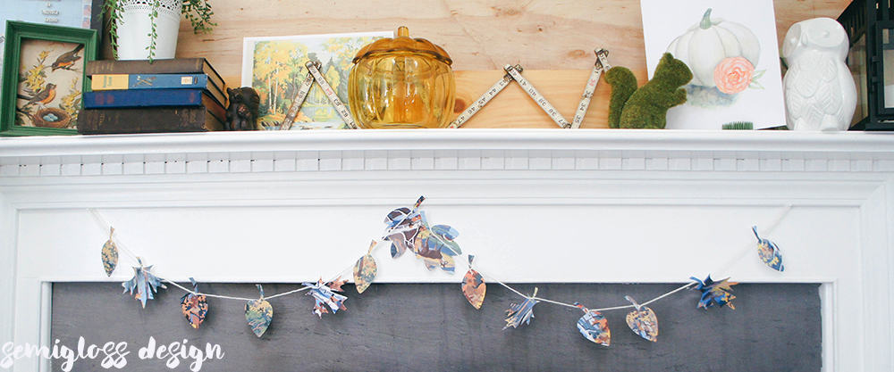 Leaf garland on fireplace