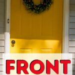 pin image - yellow front door with wreath