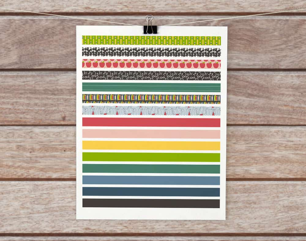 printable washi tape for back to school