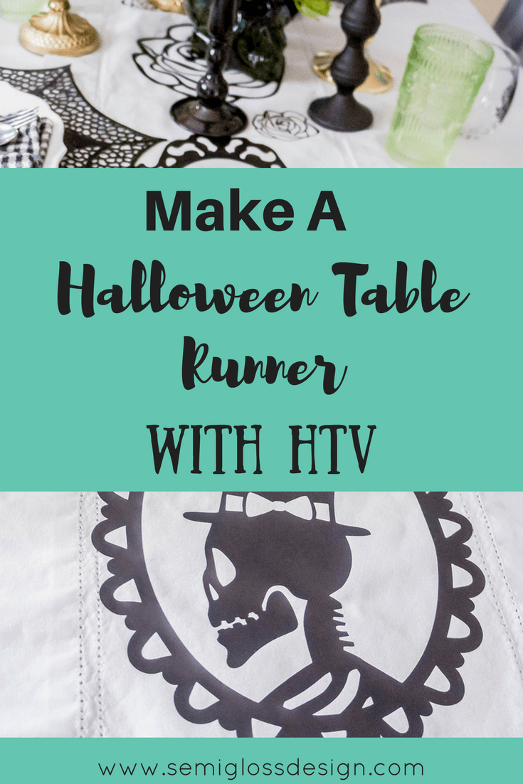 Halloween table runner | HTV | heat transfer vinyl | affordable HTV | HTV weeding tips | HTV tips | heat transfer vinyl tips