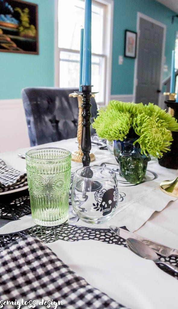 Halloween tablescape with htv