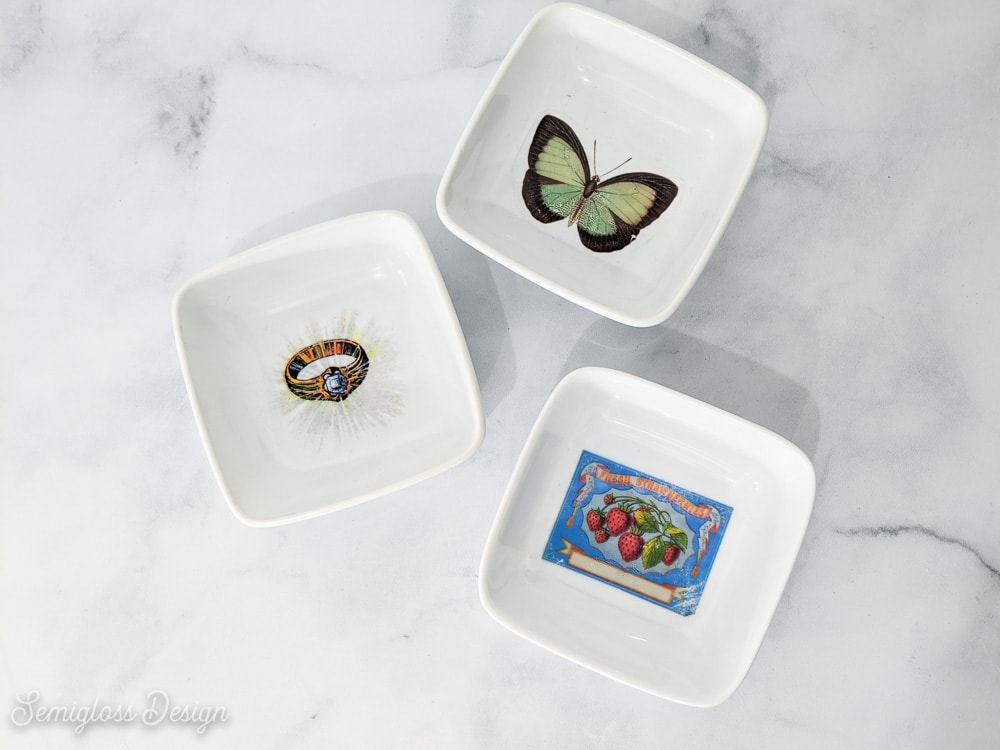 jewelry dishes with vintage images
