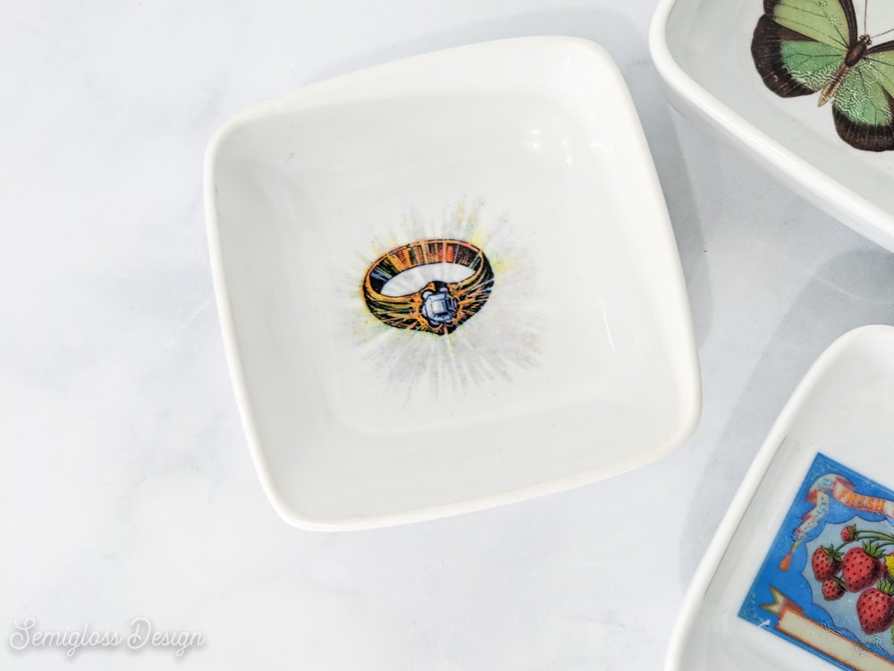 vintage ring decal on jewelry dish