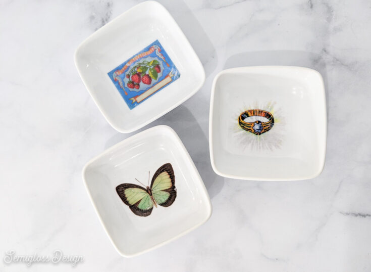 trinket dishes with vintage butterfly and ring image