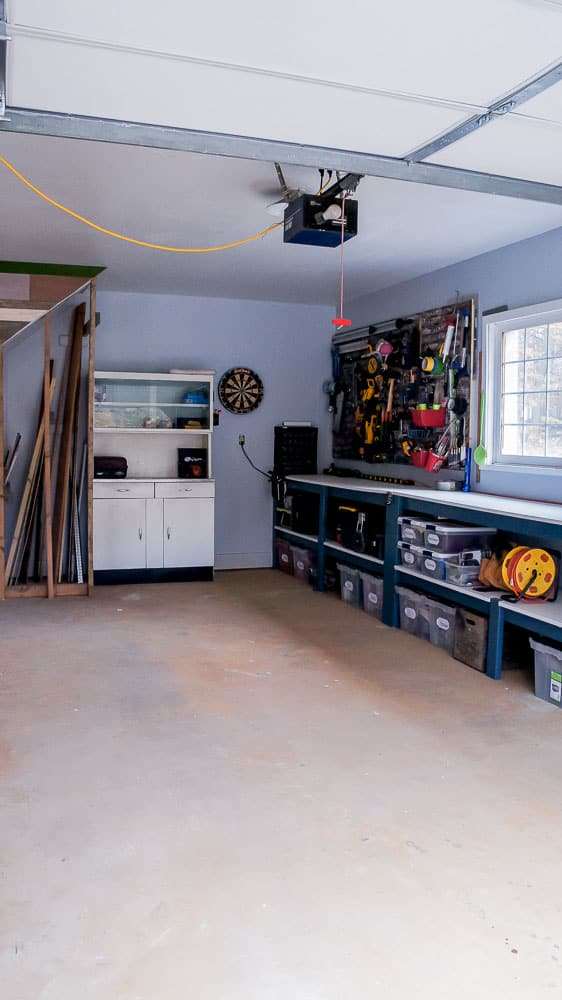 vintage inspired garage | garage organization | garage design | tool storage | pegboard | scrap wood | wood storage #garage #garageorganization #workshop #DIY