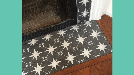 stencil a fireplace surround | update fireplace | paint fireplace tile | #fireplacemakeover #stencilfireplace #homeDIY