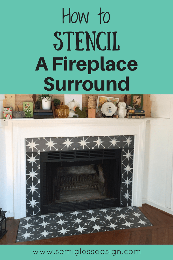 Incredible The Easiest Way To Paint Fireplace Tile Using A Stencil Download Free Architecture Designs Ferenbritishbridgeorg