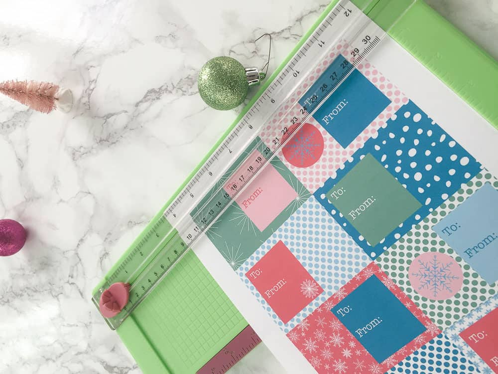 using paper cutter to cut printable gift tags