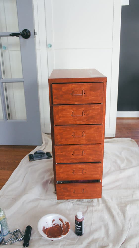 IKEA helmer hack. Make over this plain filing cabinet with a product that makes it look vintage. #ikeahack #furniturepainting