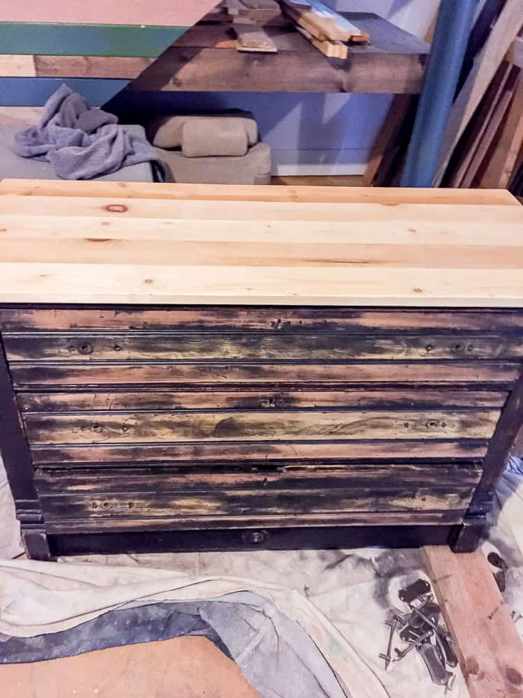 Dresser with top, in progress