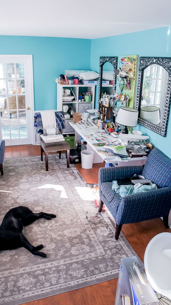 Office makeover plans on a $100 room budget. Using mostly items I already own, I will update my messy office to a vintage filled beautiful space. #officeinteriordesign #officedecor #workspace