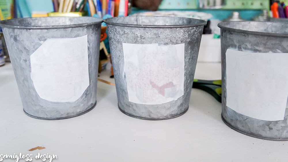 Galvanized buckets drying