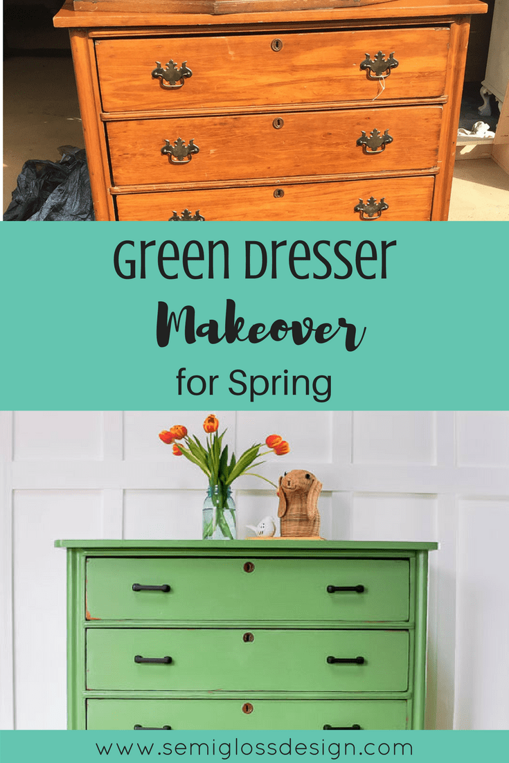 This dresser makeover features Country Chic Paint in Rustic Green. #paintedfurniture #countrychicpaint