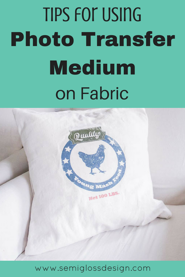 Get tips for using photo transfer medium on fabric. Make your own cute vintage style feedsack pillow or printable!