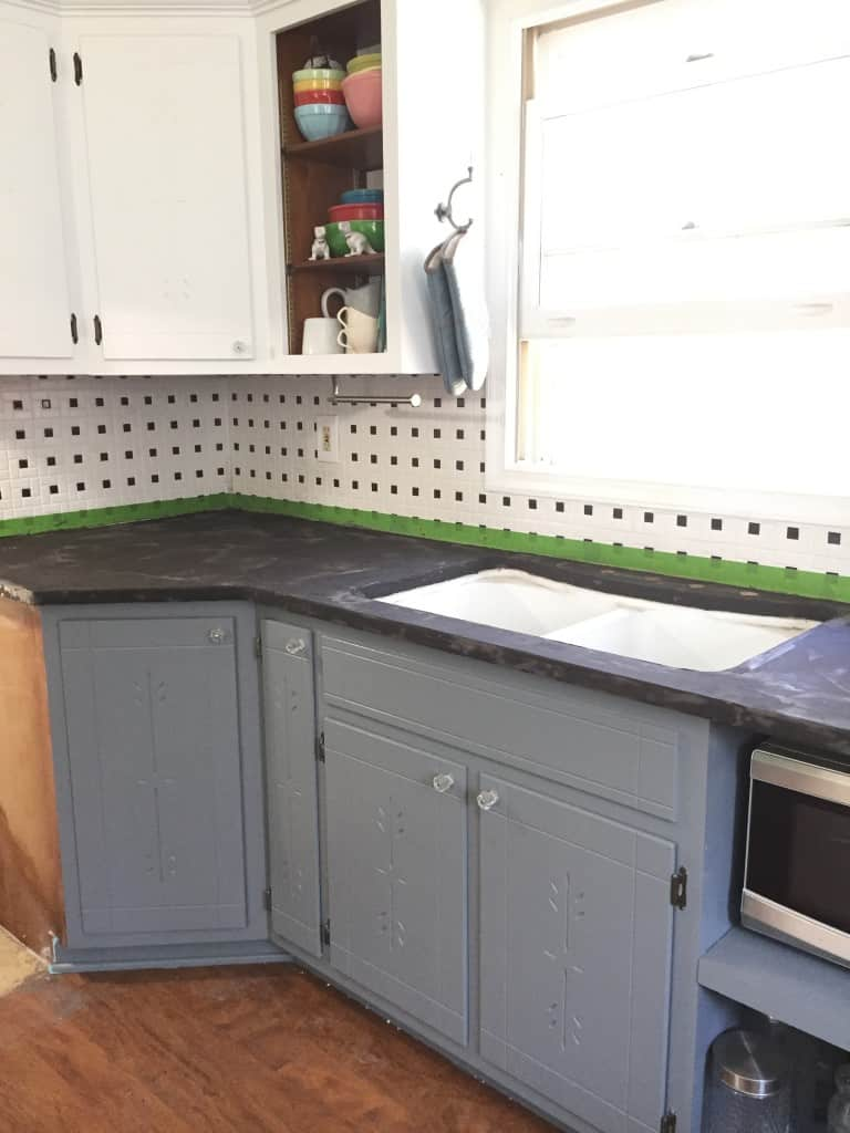finished concrete overlay countertop