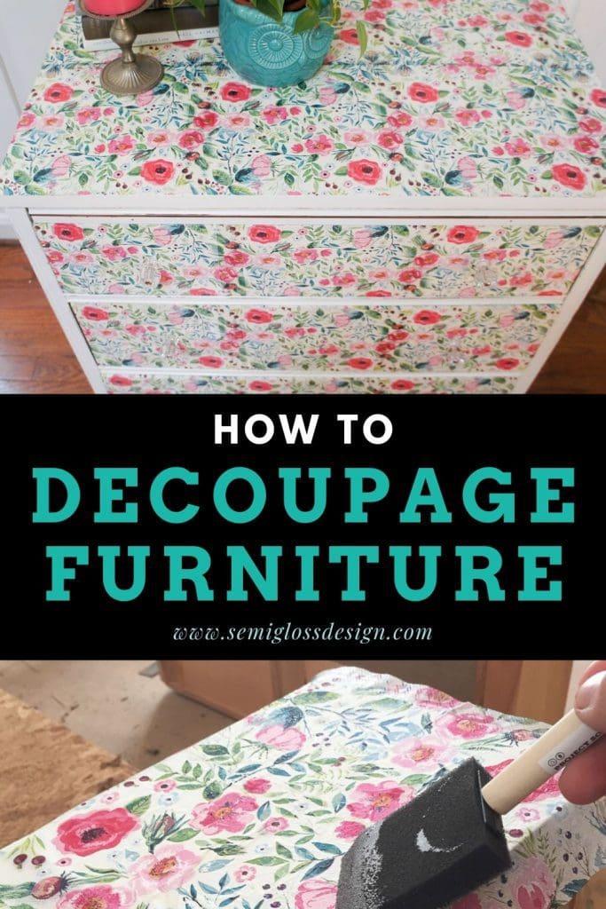 decoupage furniture collage