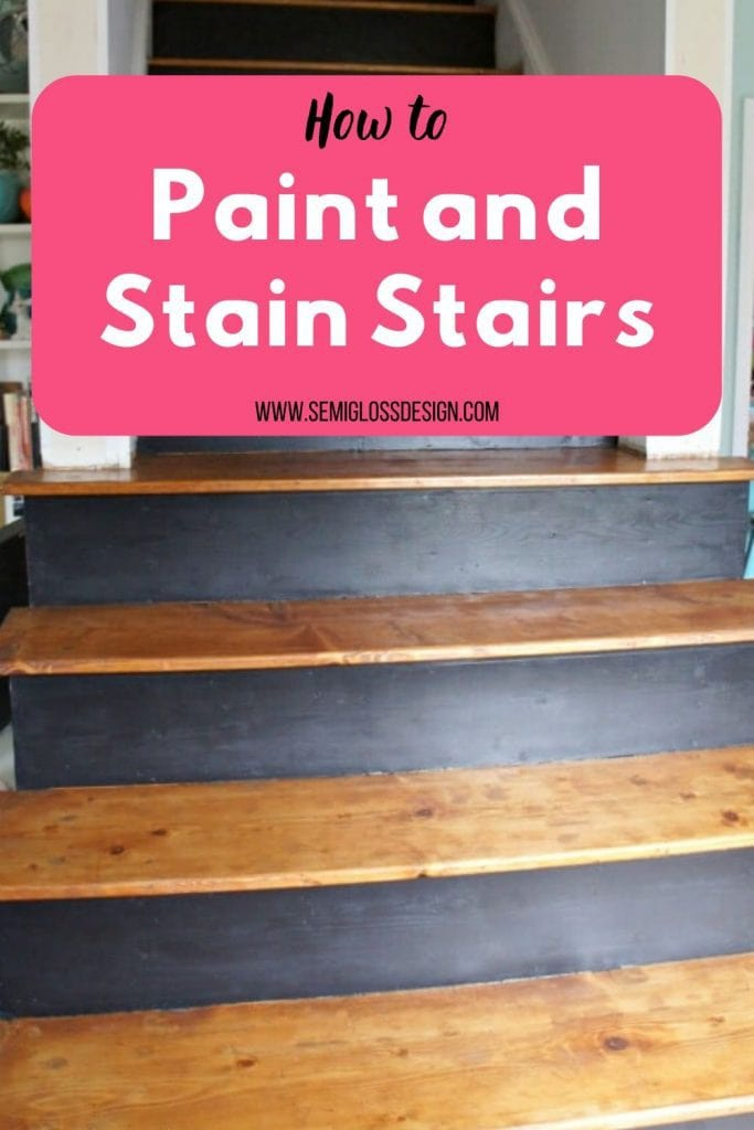 paint and stain stairs collage