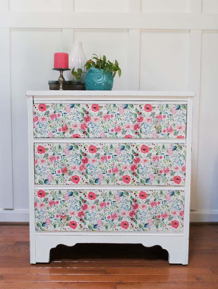 Updated dresser decoupaged with floral napkins