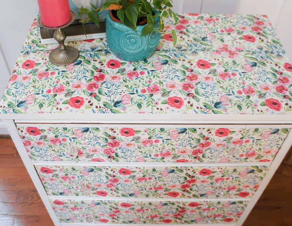 The Best Way to Decoupage a Dresser with Floral Napkins
