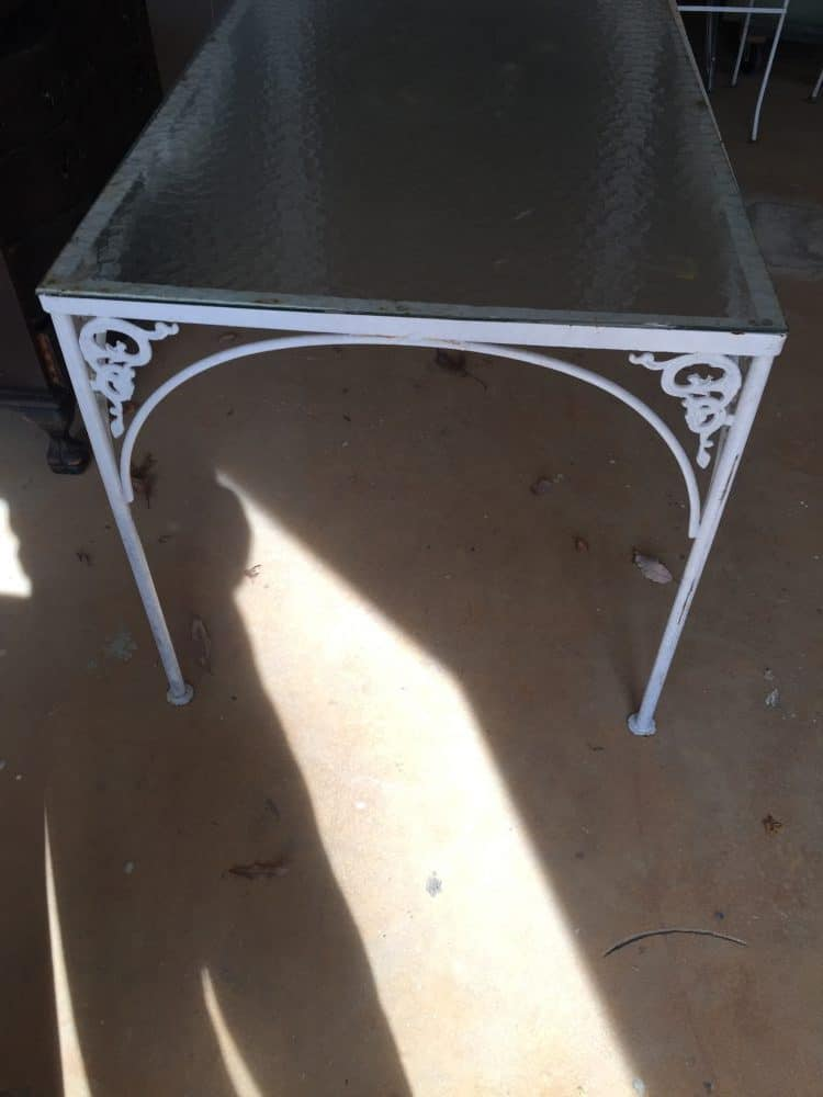 vintage patio table before painting