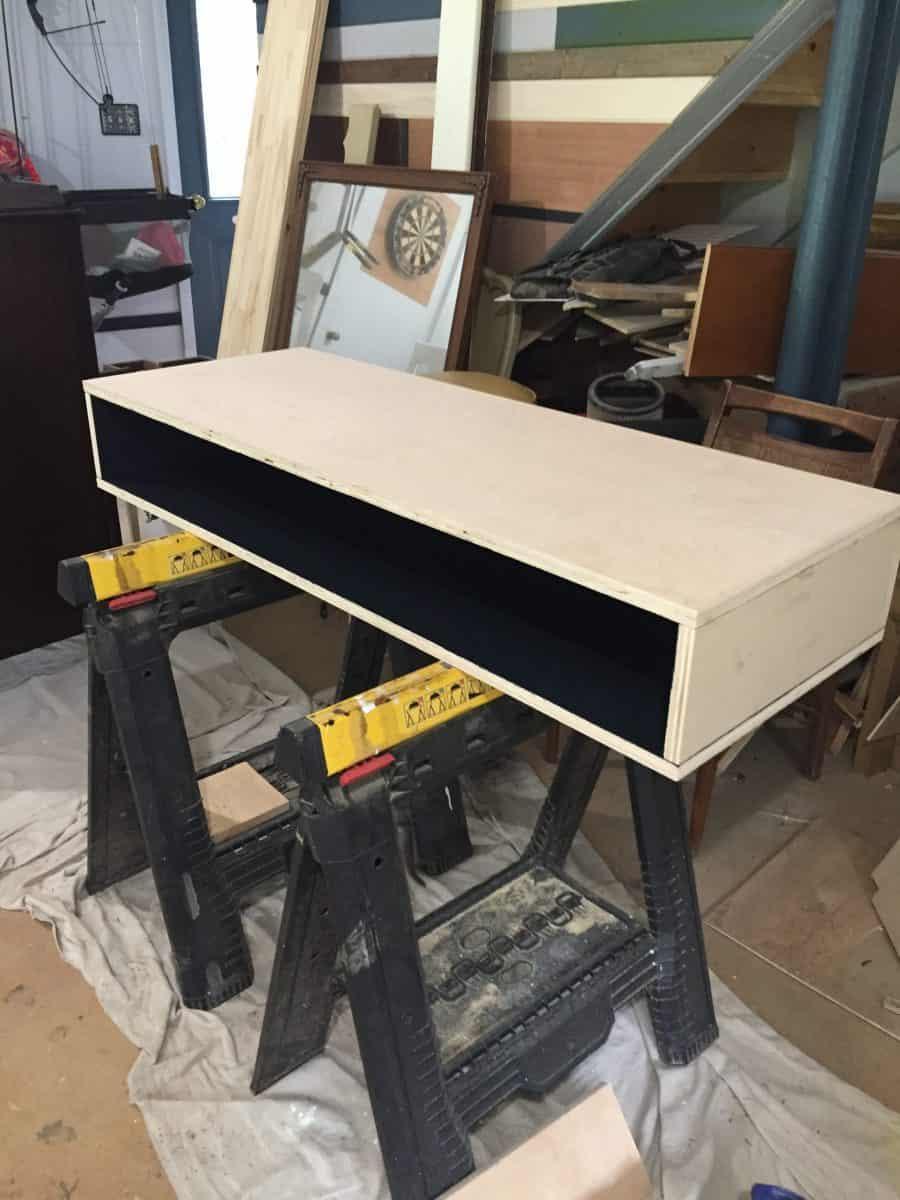 Top desk cubby assembled