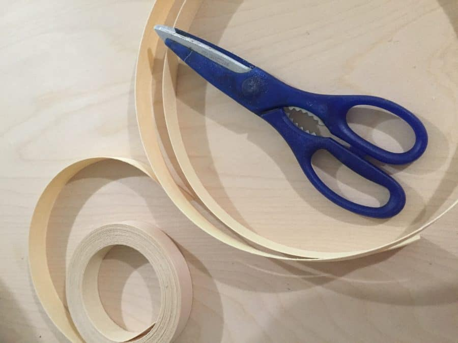 Plywood edging can be cut with scissors