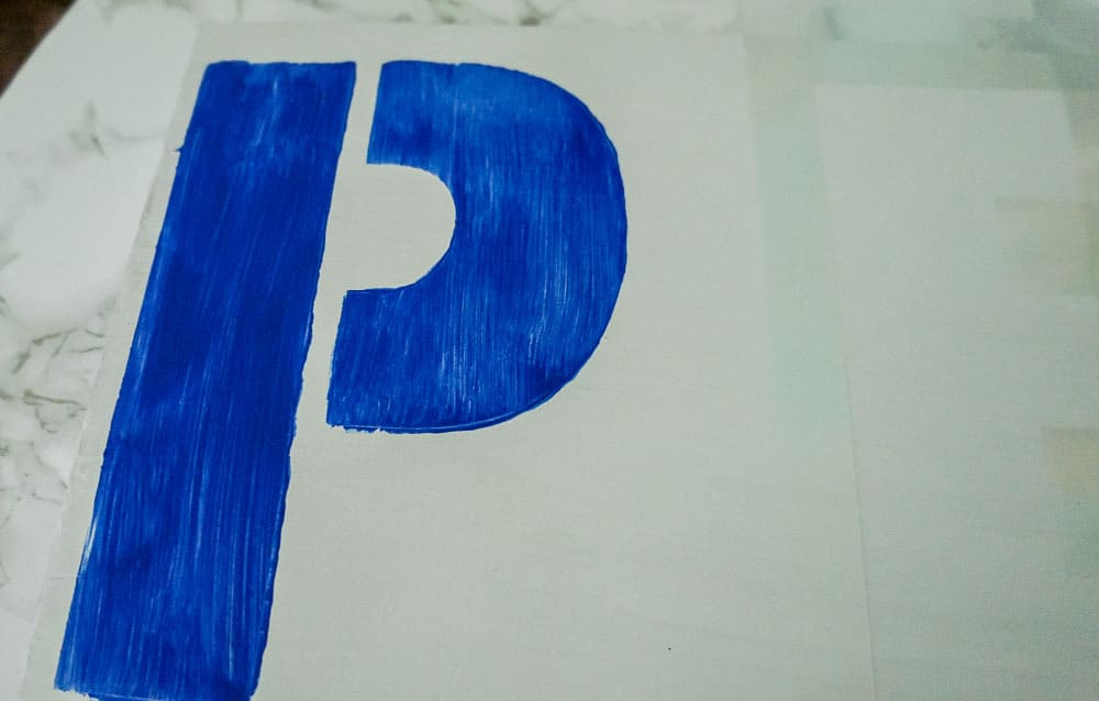 stenciled letter P