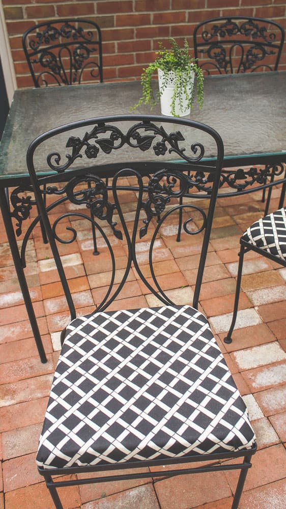 painted wrought iron furniture with reupholstered seats