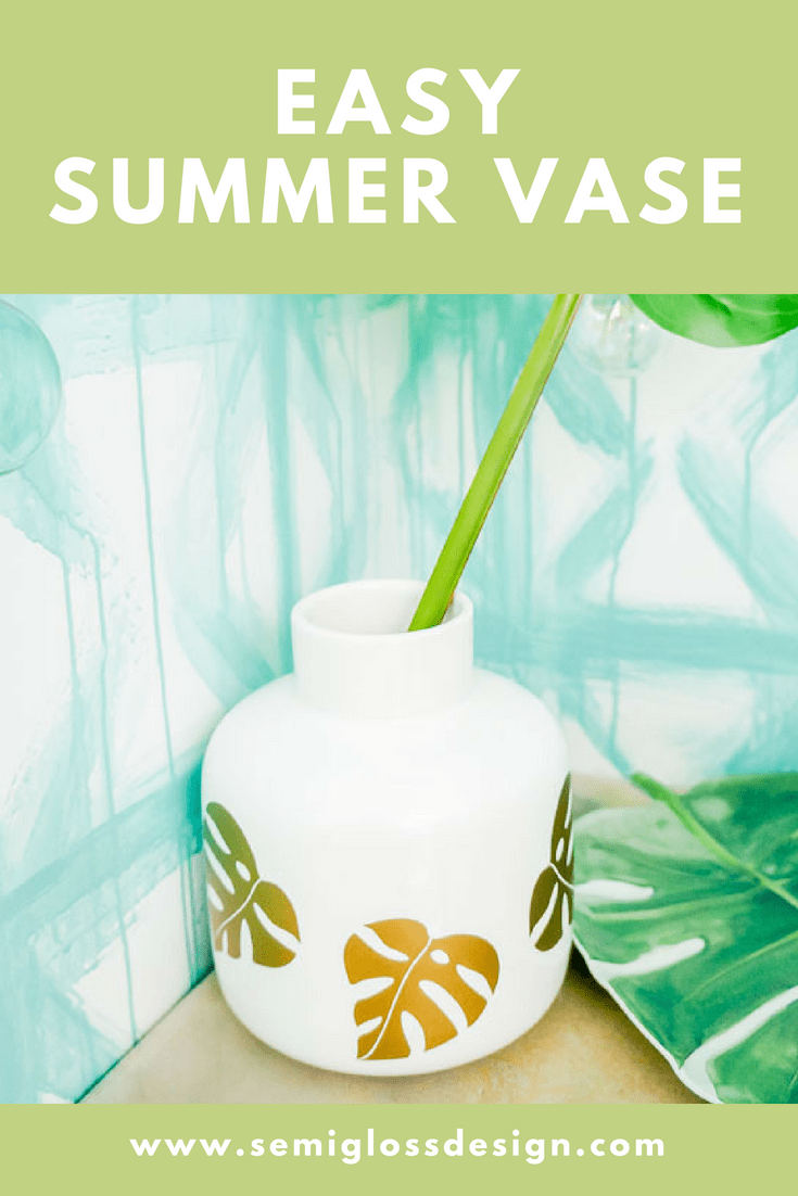 Make an easy summer vase to fill with all of your favorite summer blooms or foliage! This DIY vase features gold monstera leaves for a fun, tropical feel!