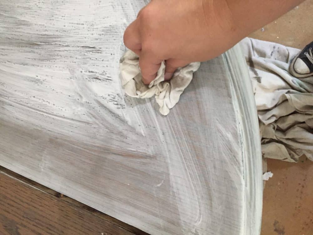 Apply whitewash over gray stain