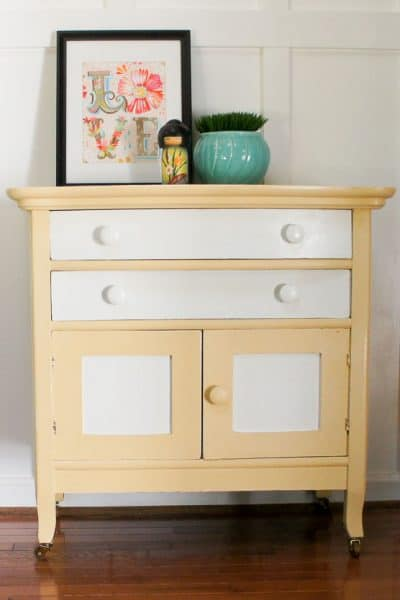 Charming Painted Washstand Makeover with Two-Tone Paint