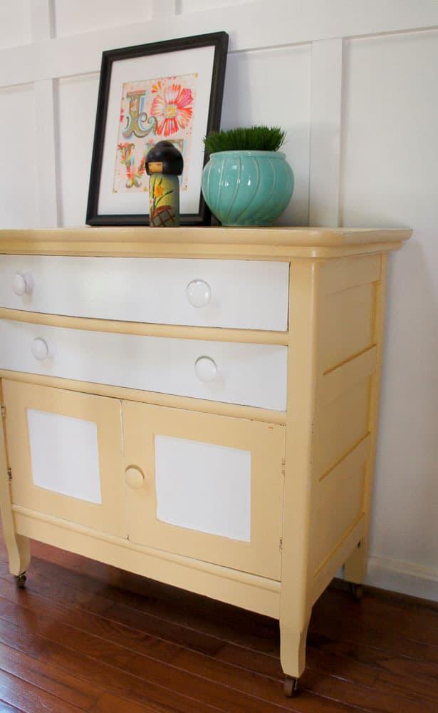 yellow and white washstand